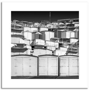 photo impression sur papier art cabines de plage en Normandie mer vacances