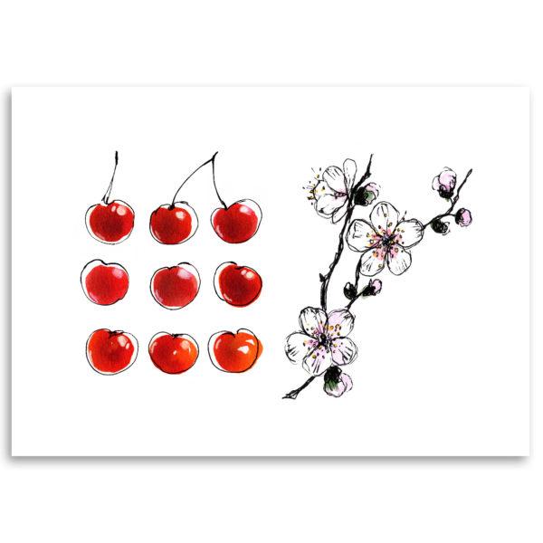 cerise cerisier printemps art print dessin décoration affiche