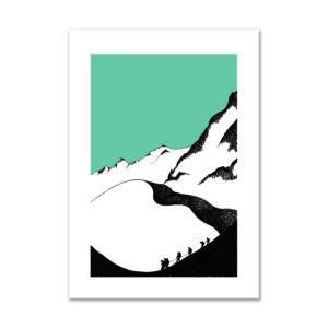 dessin encre cordée montagne alpinisme décoration affiche art print