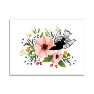 affiche décorative art tableau oiseau fleurs