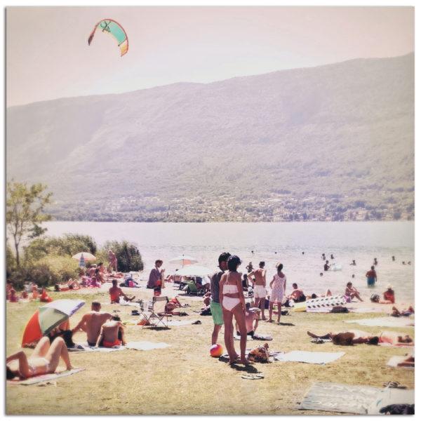 Photo kitesurf vintage lac du bourget été vacances souvenir montagne savoie affiche art print décoration murale