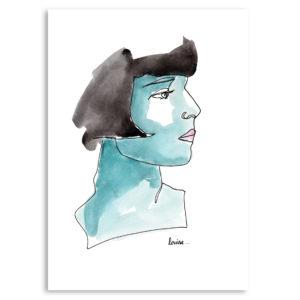 Portrait dessin aquarelle crayon affiche art print décoration murale encadrement