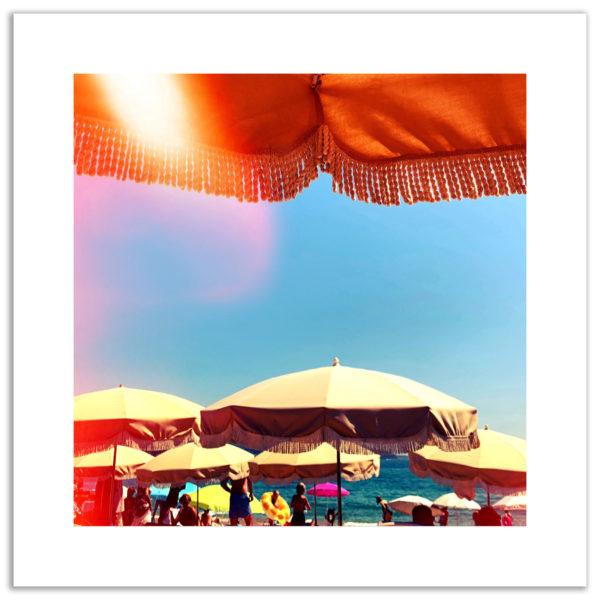 photo plage du lavandou été summer vintage parasols bord de mer affiche décoration murale art photographie art print