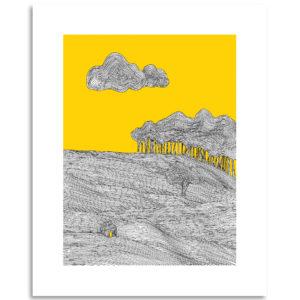 dessin stylisé art print affiche décoration murale paysage