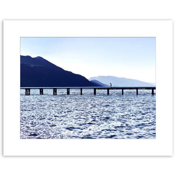 vue du lac du bourget savoie ponton plage du lido art print affiche décoration murale