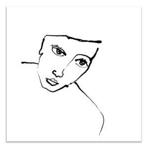 dessin à l'encre de chine portrait héroïne affiche décoration murale art print impression d'art