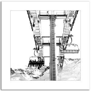 photographie noir et blanc télésiège remontée mécanique montagne neige hiver ski décoration murale affiche art print