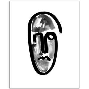 Peinture primitive masque stylisé affiche art print décoration murale