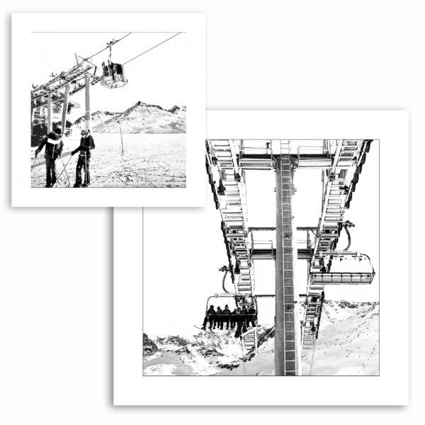 photo graphique art affiche noir et blanc meribel mottaret les 3 vallées artprint ski montagne neige hiver décoration murale plattières