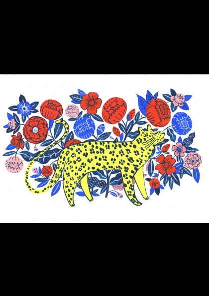 leopard in garden agathe singer sergeant paper affiche art print décoration murale giclée print animaux jardin fleur