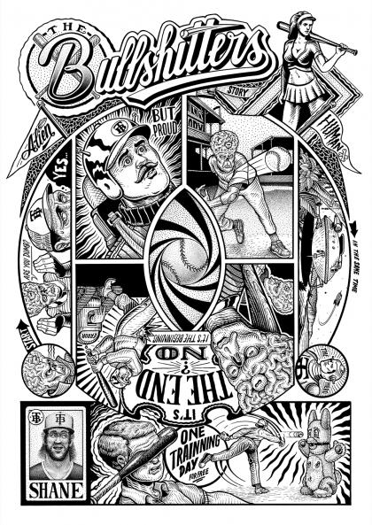 baseball sergeant paper affiche art print bande dessinée décoration murale