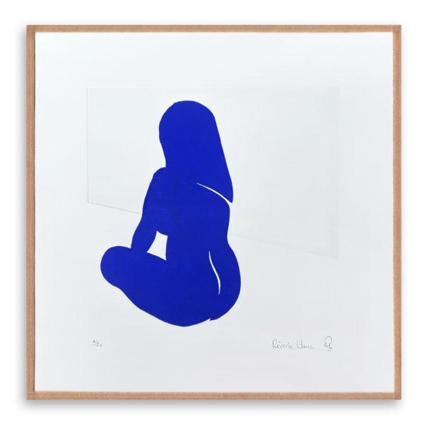 femme bleu gravure art artiste art print à la main affiche encadrée cadeau décoration intérieur murale tableaux