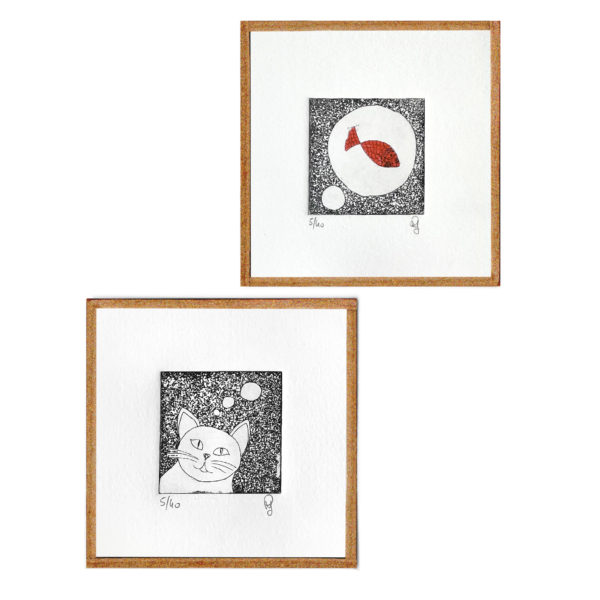 chat poisson rêve gravure eau forte gravure art artiste art print à la main affiche encadrée cadeau décoration intérieur murale tableaux