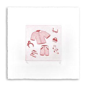 gravure eau-forte aquatinte dimanche à Deauville vêtements dessin décoration tableaux artiste art