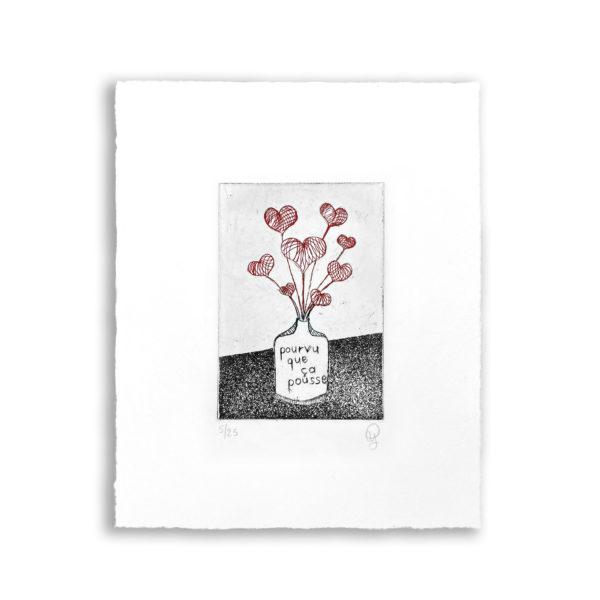 gravure eau-forte aquatinte bouquet de coeurs dessin decoration tableaux artiste art
