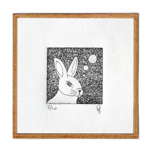 lapin carotte gravure eau forte gravure art artiste art print à la main affiche encadrée cadeau décoration intérieur murale tableaux